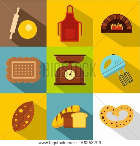 Patisserie icons set. Flat illustration of 9 patisserie vector icons for web