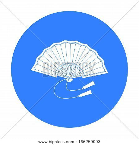 Folding fan icon in blue style isolated on white background. Japan symbol vector illustration.