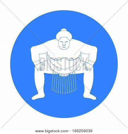 Sumo wrestler icon in blue style isolated on white background. Japan symbol vector illustration.