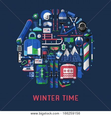 Winter time card template with snow activities equipment stylized in circle. Winter sports icons collection with snowboard and extreme ski gear in flat design. Snow games elements vector set.