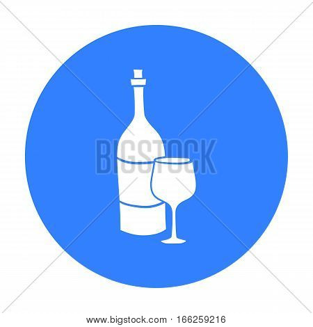 Italian wine from Italy icon in blue style isolated on white background. Italy country symbol vector illustration.