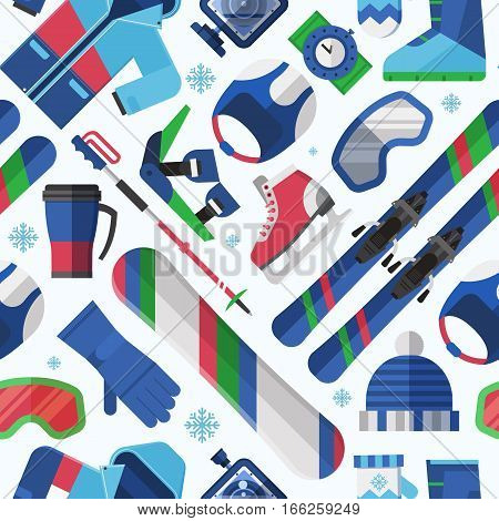 Winter lifestyle seamless background with skiing and snowboarding equipment. Winter sports pattern with snow activity icons including snowboard, ski, skates. Extreme sport and activity gear texture.