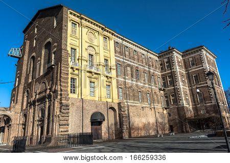 Rivoli,Turin,Italy,Europe - January 4, 2017 : The facade of the Castle of Rivoli