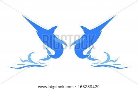 Jumping Twin Marlin Fish Logo. Isolated in White Background.