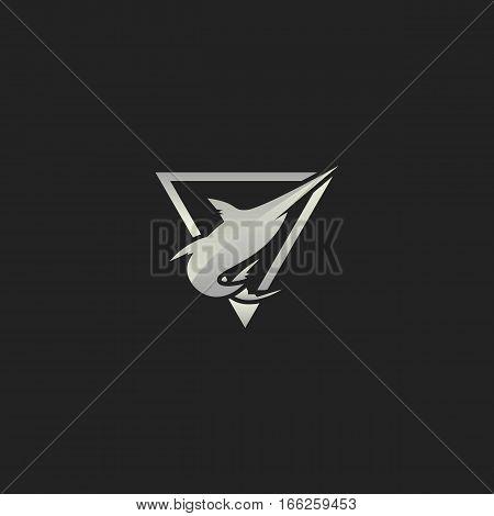 Shiny Silver Hipster Marlin Fish Emblem Logo