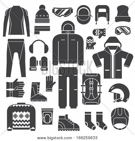 Winter sports clothes and accessories for active lifestyle outline icons. Skiing and snowboarding winter sportswear and warm dress silhouettes. Snow activities and sports clothing set in monochrome.