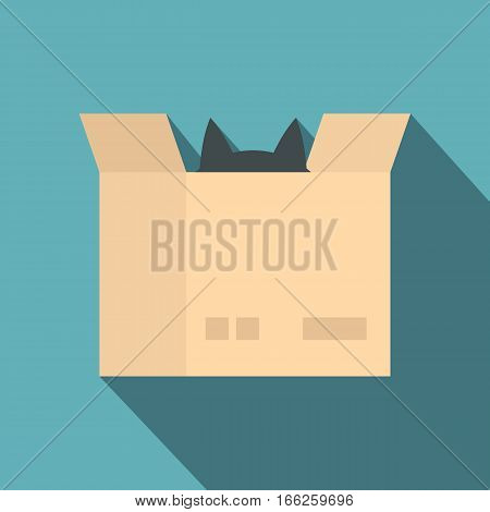 Cat in a cardboard box icon. Flat illustration of cat in a cardboard box vector icon for web design