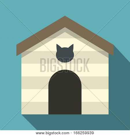 Cat house icon. Flat illustration of cat house vector icon for web design