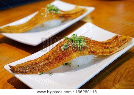 Japanese Cuisine - Eel Sushi, Unagi Sushi, Selective Focus