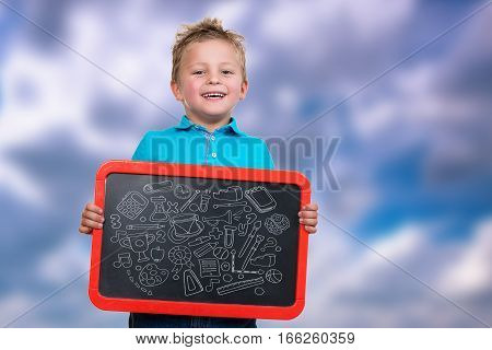 Cheerful Kid with Blank Board with symbols on board