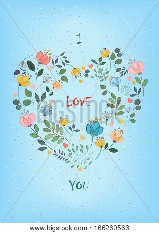 I love you. Floral Heart with small hearts. Colorful graceful flowers with watercolor effect. Blue background