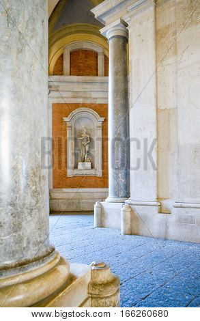 Caserta Italy - March 9, 2008: The entrance porch of the Royal Palace detail