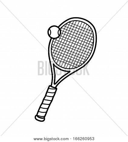 Tennis Ball Racket, a hand drawn vector doodle illustration of a tennis ball and racket.
