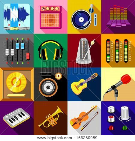 Recording studio symbols icons set. Flat illustration of 16 recording studio symbols vector icons for web