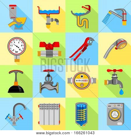 Plumber symbols icons set. Flat illustration of 16 Plumber symbols vector icons for web