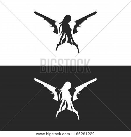 Gun and Girl Holding Gun Logo Template. Isolated.