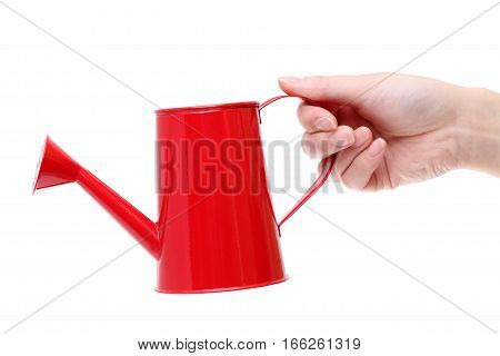 Hand holding red watering can isolated on white background