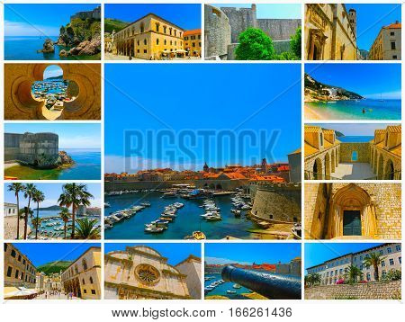 Dubrovnik, Croatia - Collage from views of the fortress and marina in the old town of Dubrovnik, Croatia. Dubrovnik is a UNESCO World Heritage site