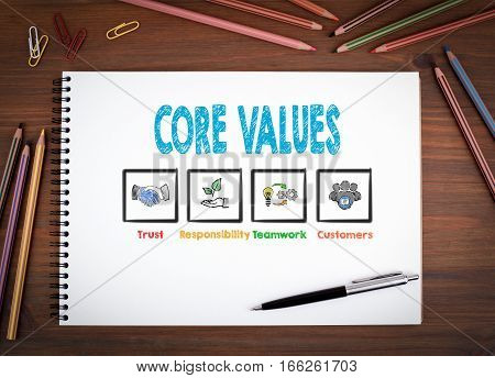 Core Values. Notebooks, pen and colored pencils on a wooden table.