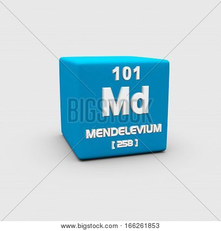 Mendelevium is a synthetic element with chemical symbol Md and atomic number 101.