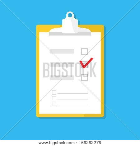 checklist survey, questionnaire icon isolated on blue. Clipboard button, tablet, paper, tick. Flat vector design for web site, mobile app