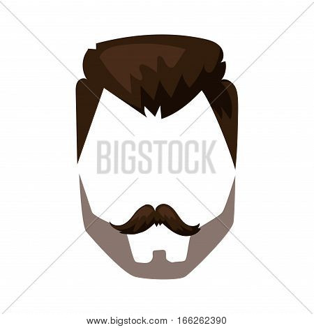 Hairstyle beard and hair face cut mask flat cartoon. Vector mail illustration flat fashion style. Retro design people portrait young character.
