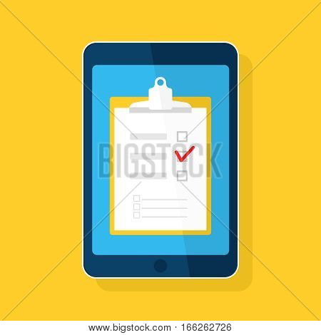 Online checklist survey, questionnaire icon isolated on blue. Clipboard button, tablet computer, paper, tick. Flat vector design for web site, mobile app
