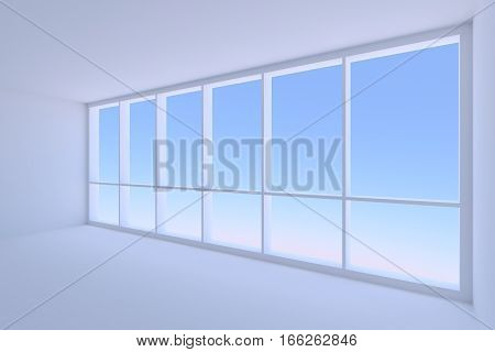 Business architecture office room interior - large window of empty blue business office room with floor ceiling and walls with morning blue sky light 3d illustration