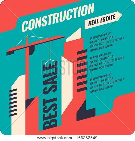 Retro banner construction and sale of apartments and buildings. Vector illustration.