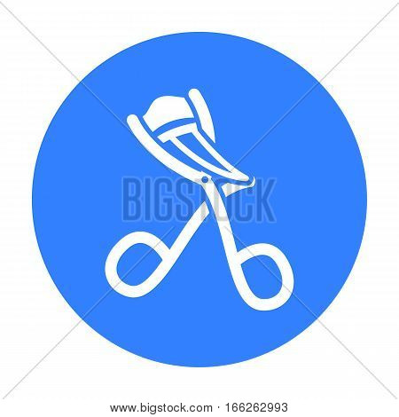 Eyelash curler icon in blue style isolated on white background. Hairdressery symbol vector illustration.