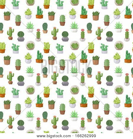 Cactus doodle seamless pattern. Exotic nature summer plant design and green desert print botanical flower vector. Mexican cartoon blossom and cacti decorative wallpaper.