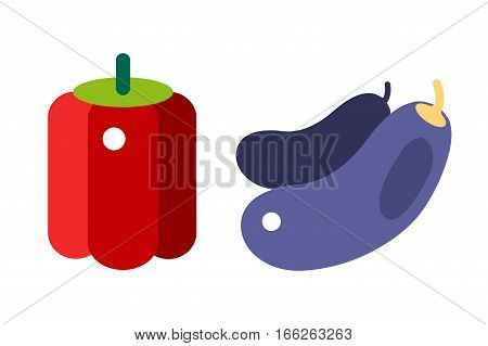 Eggplant or aubergine vegetable isolated healthy food vector illustration. Purple organic and natural fresh vegan ingredient. Juicy color diet gourmet tasty nutritious.