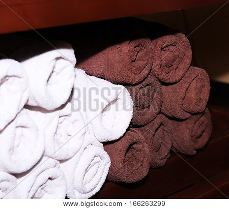 Towels rolled into rolls hotel service for inn
