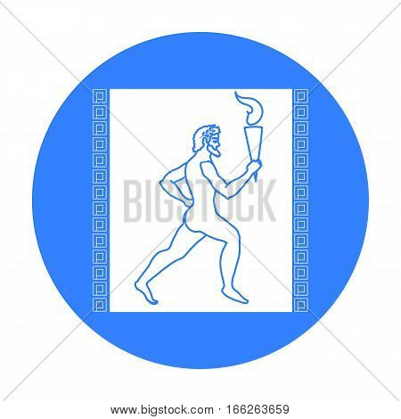 Athlete with torch fire icon in blue style isolated on white background. Greece symbol vector illustration.