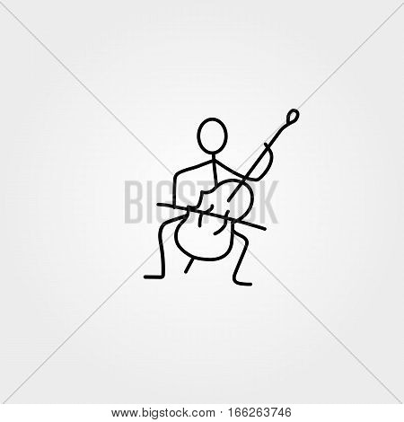 Stick figure man playing double-bass vector. Musician and saxophone
