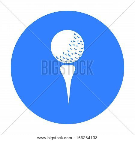 Golf ball on tee icon in blue  style isolated on white background. Golf club symbol vector illustration.