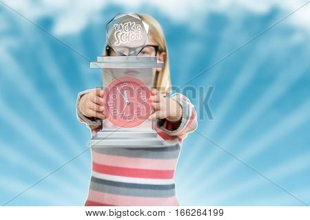 Cute girl wearing glasses with big clock.