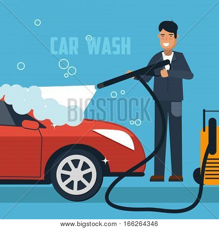 Car wash concept illustration. Man washing car banner. Car wash vector illustration with sport car and man in overall.