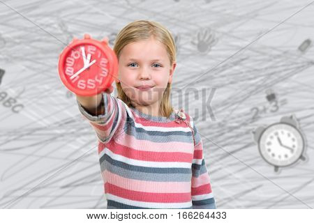 Cute girl with alarm clock on draw background