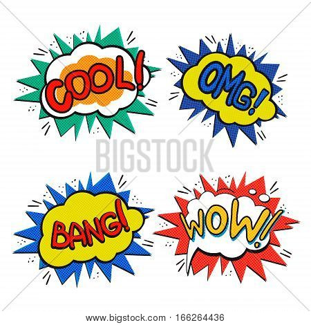 Pop art logo set. Retro style concept phrases. Vector pop art illustration. Comic style logos. Pop art comics icons