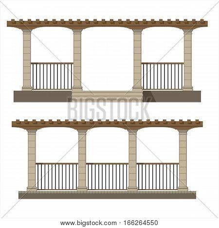 Set of vector pergola front view , garden elements