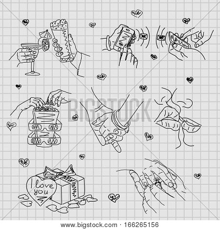 Love Story - set of vector illustrations of love. Cute Romantic simple drawings black ballpoint pen cliparts on a squared paper