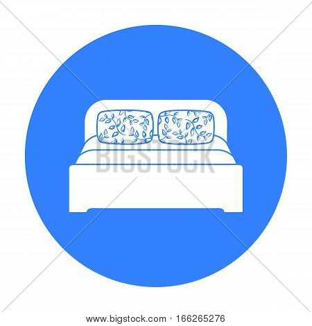 Wooden double bed icon in blue style isolated on white background. Furniture and home interior symbol vector illustration.
