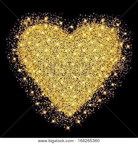 Happy Valentines day greeting card. Gold heart with glitter stars and particles. Vector illustration.