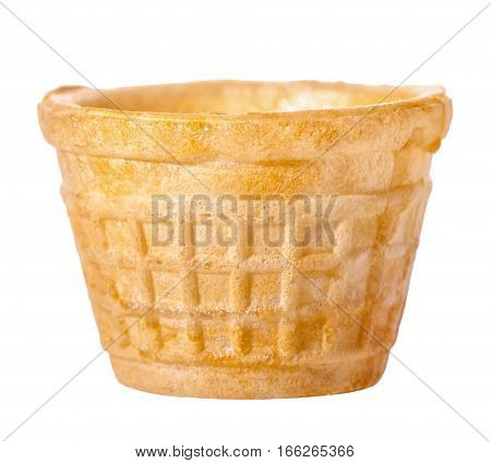 Close Up Wafer Cup Is Isolated On White Background