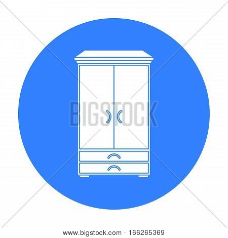 Closet icon in blue style isolated on white background. Furniture and home interior symbol vector illustration.