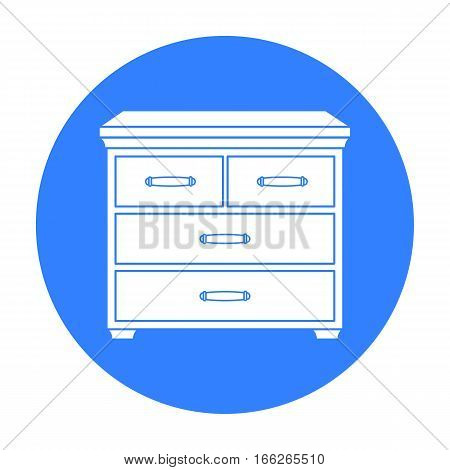 Wooden cabinet with drawers icon in blue style isolated on white background. Furniture and home interior symbol vector illustration.