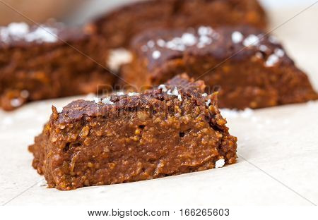 Pumpkin vegan brownie. Love for a healthy desserts concept.