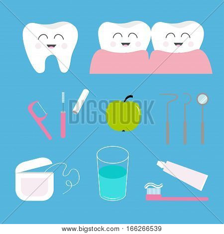 Tooth health icon set. Toothpaste toothbrush dental tools instruments thread floss mirror brush water. Children teeth care. Oral hygiene Baby background Flat design Vector