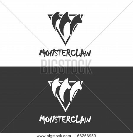 Monster Claw Hipster Triangle Logo or Icon